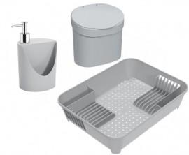 Kit Escorredor com Lixeira e Dispenser de Detergente Brinox