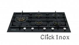Cooktop 5Q Mesa Vitrocerâmica Gás 87cm c/Multichama 6KW Esquerda Nero Argento Elanto