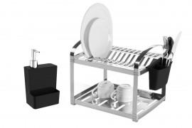 Escorredor Inox 12 Pratos com Dispenser de Detergente Brinox