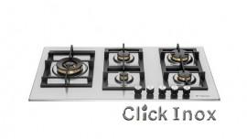 Cooktop 5Q Inox Gás 86cm c/Multichama 5KW Esquerda Professionale Elanto