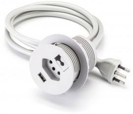 Tomada Embutir/Passa-Fio c/USB Cinza 4350 Multiplug