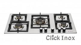Cooktop 5Q Inox Gás 86cm c/Multichama 5KW Central Professionale Elanto