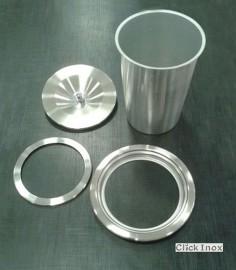 Lixeira p/Granito Embutir 3Lts Ø20cm Inox c/Balde Aluminio Clickinox